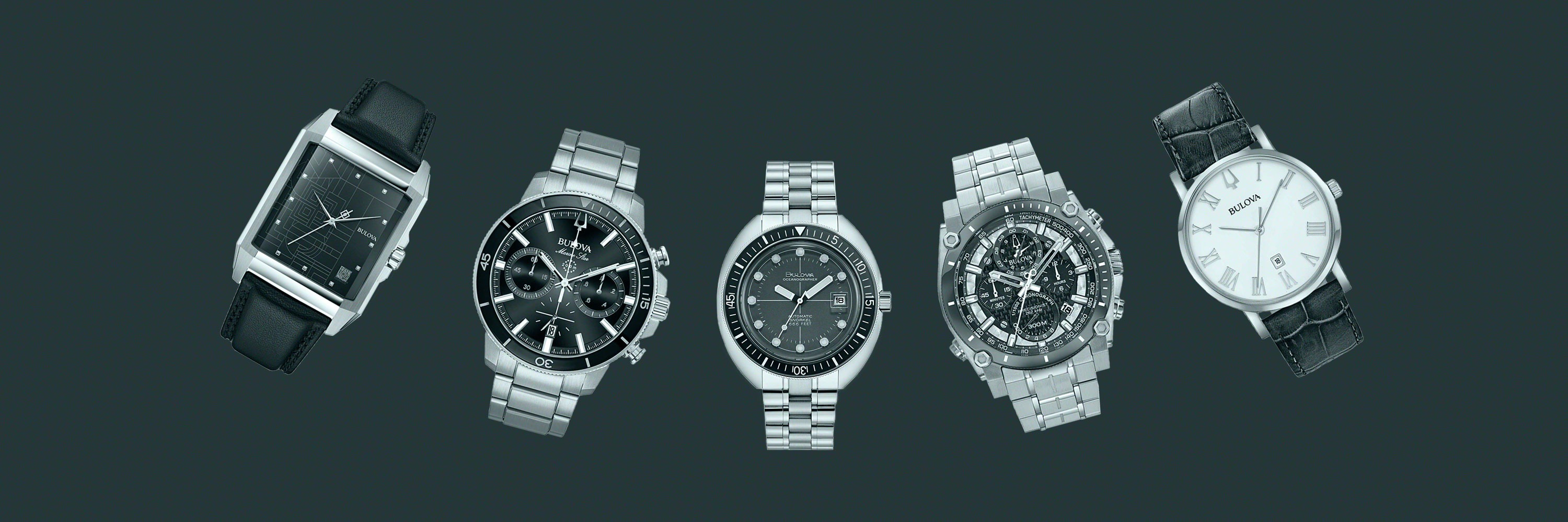 5 bulova brand watches on a green background