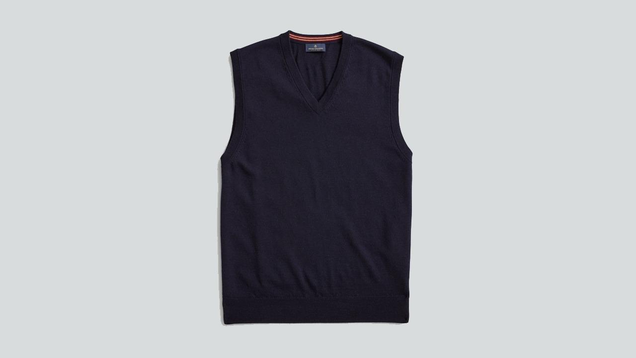 Brooks Brothers Washable Merino V-Neck Sweater Vest