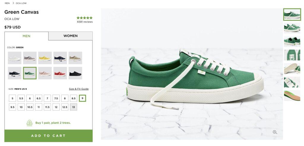 screenshot of cariuma shopping green shoes