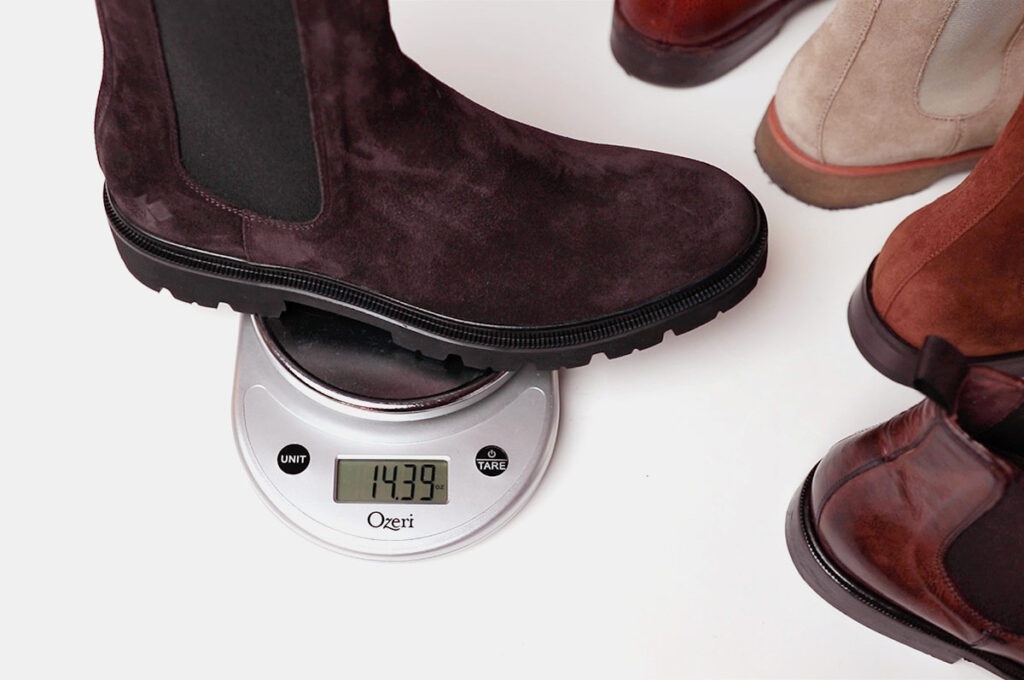 koio brown chelsea boot weighing on scale