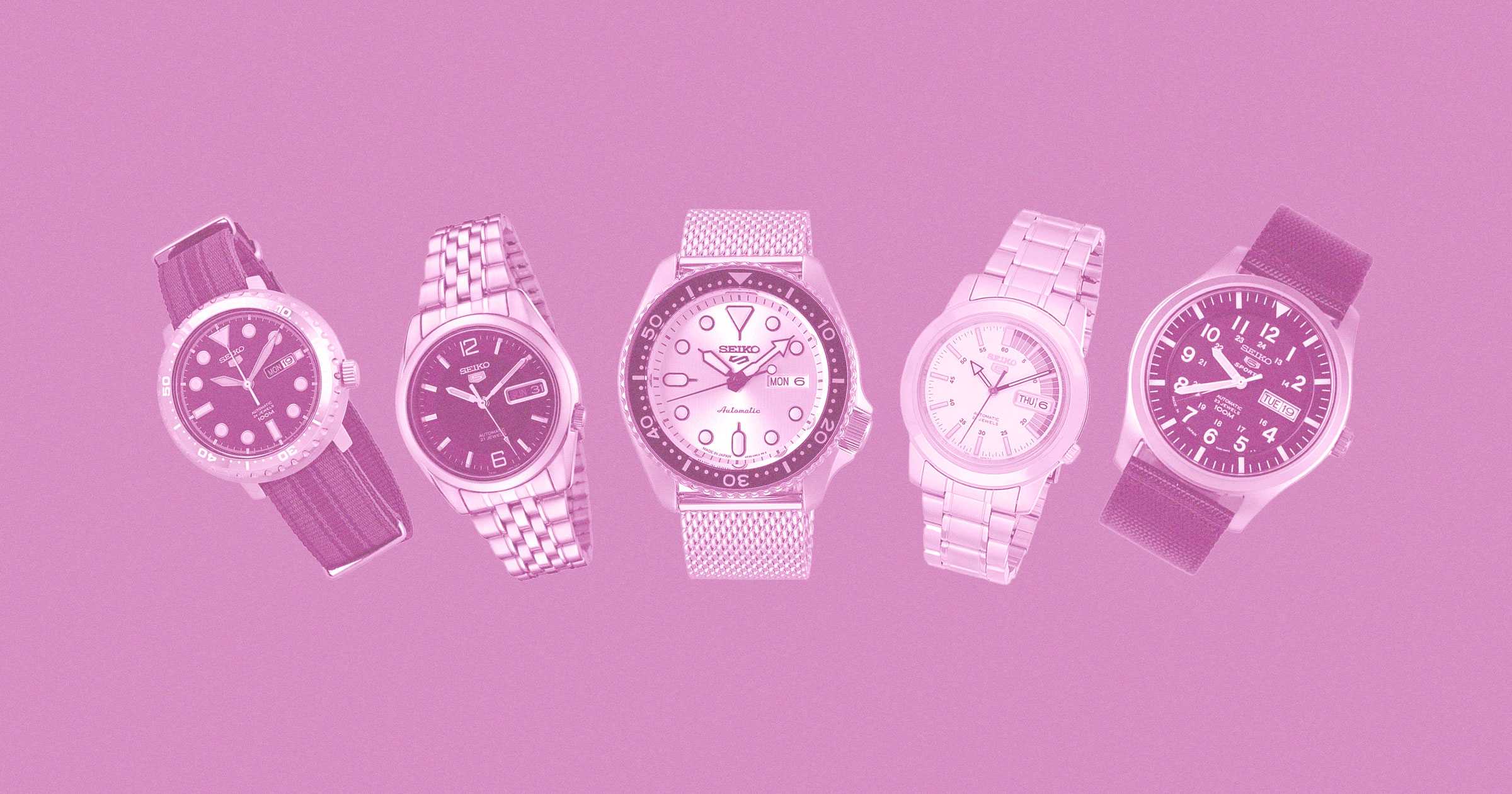 seiko 5 watches on pink background