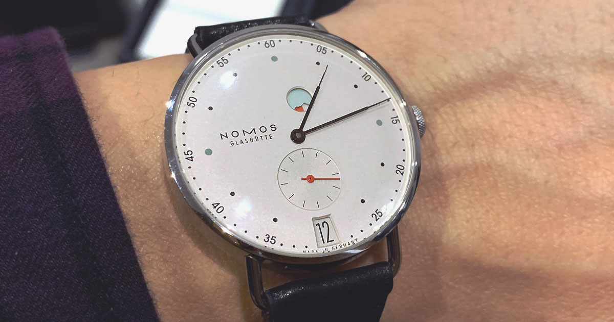 nomos watch up close
