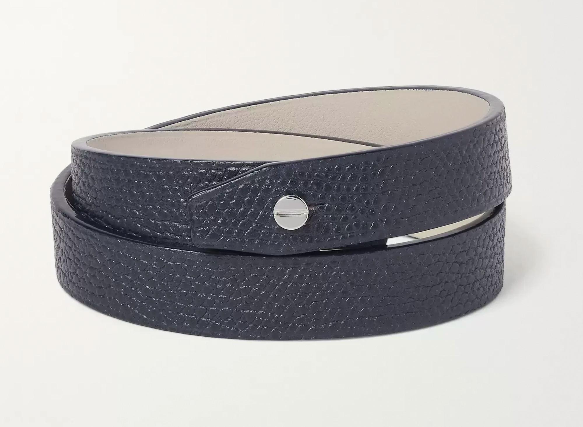 Valextra Navy Leather Bracelet