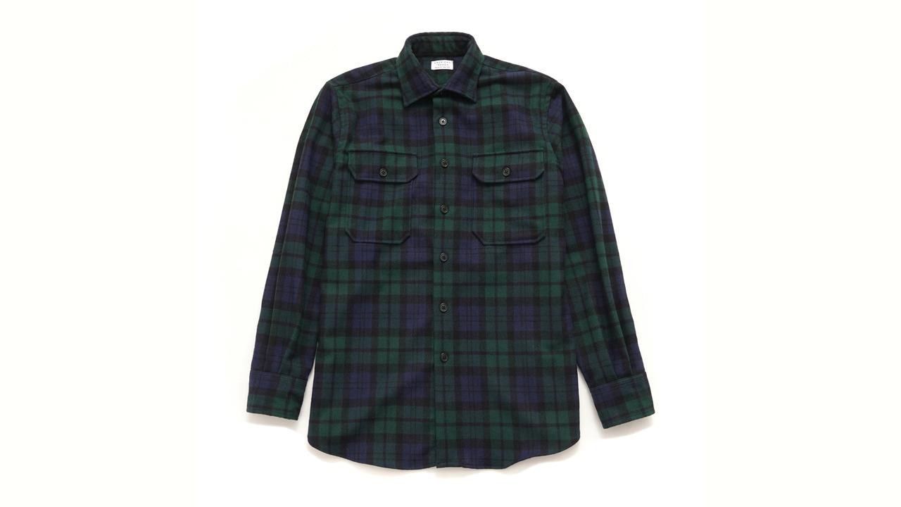 American Trench Plaid Wool Overshirt