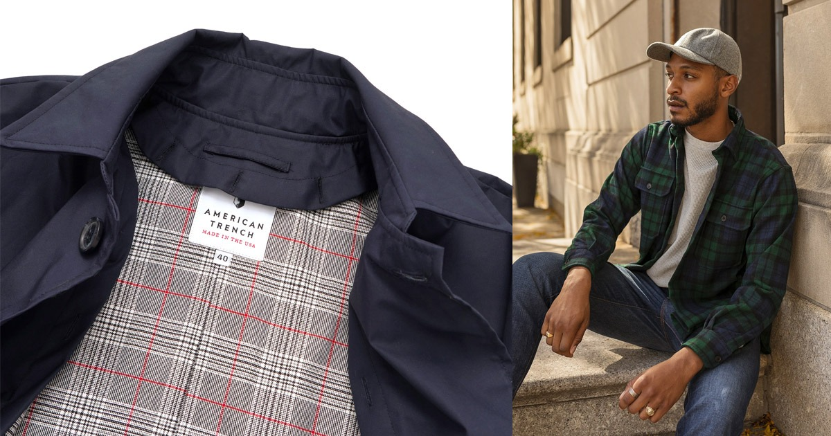 closeup of american trench jacket and overshirt