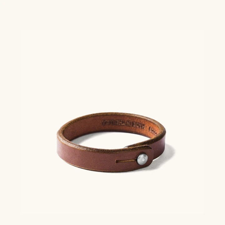 Tanner Goods Single Wrap Wristband in Cognac