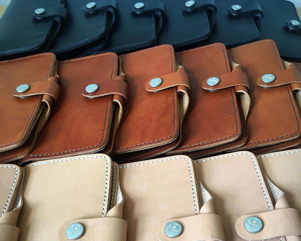 closeup of leather journal holders