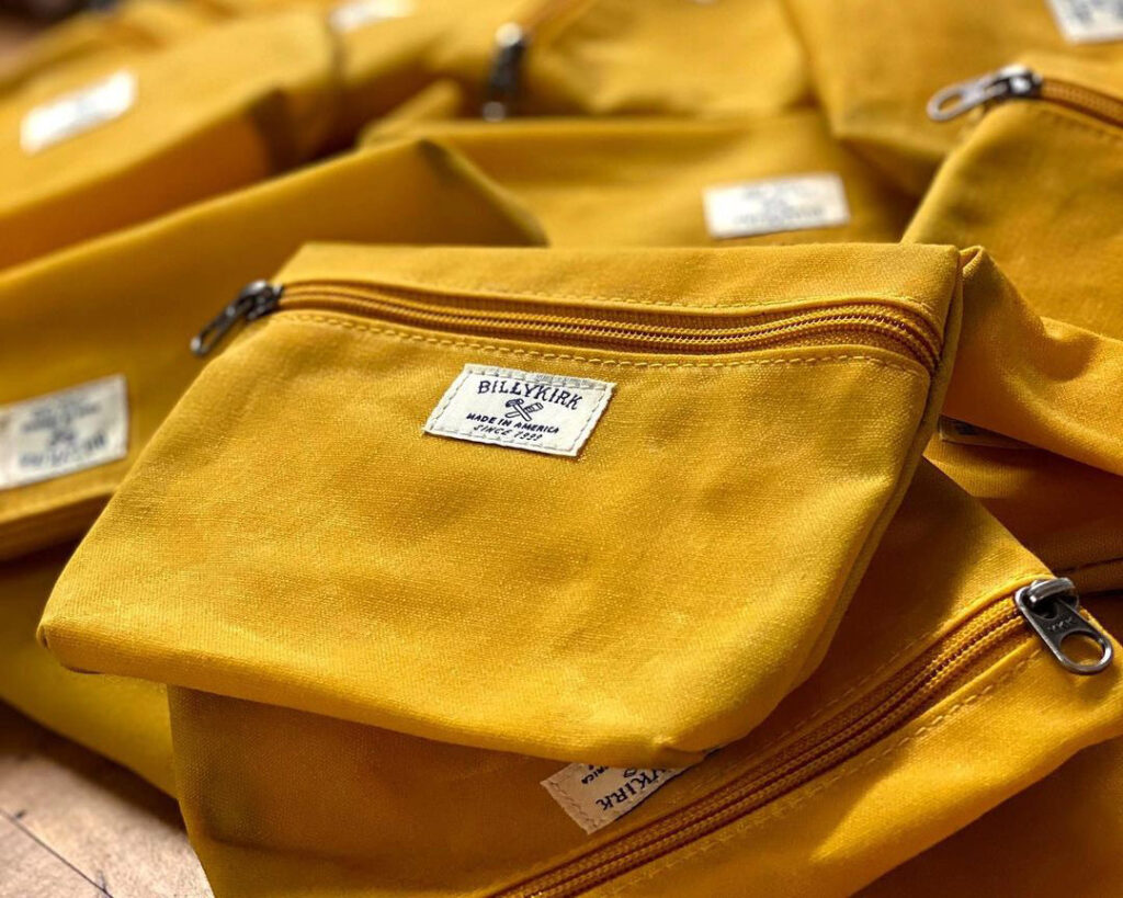 closeup of yellow canvas pouch