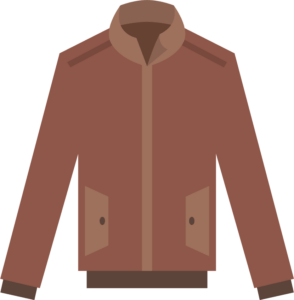 icon illustration of jacket in a reddish brown color