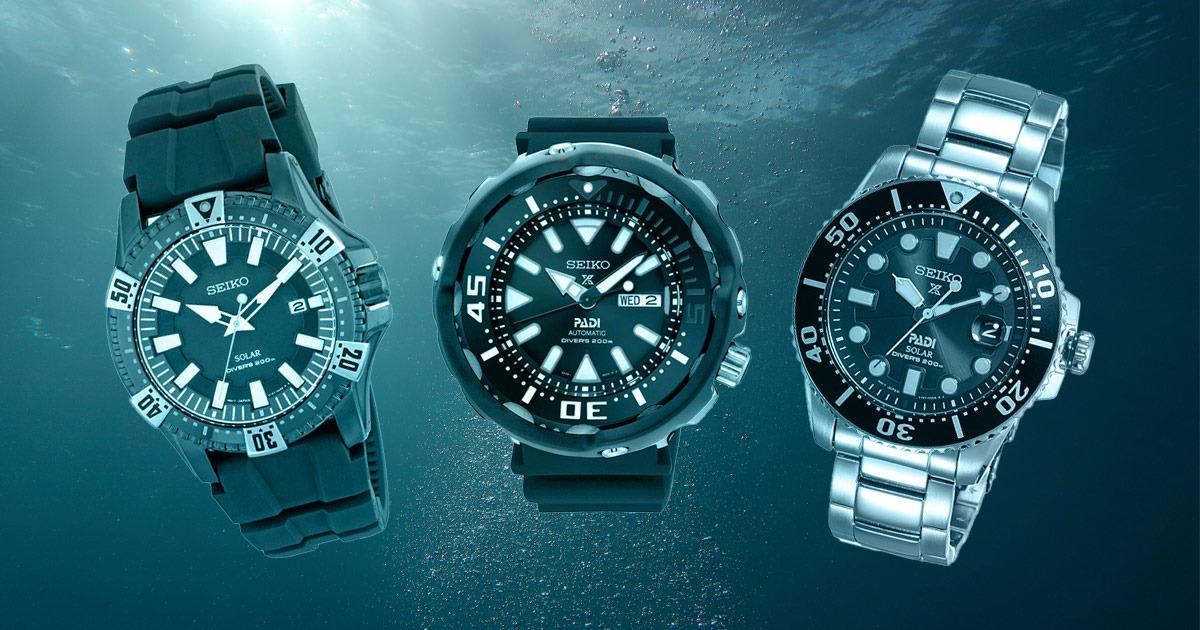 3 seiko watches underwater