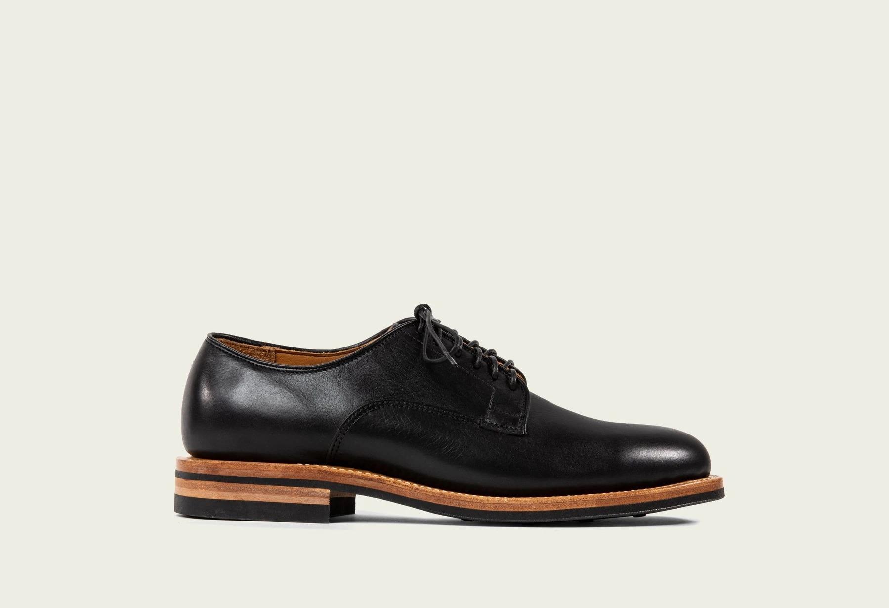 Viberg Derby Shoe in Classic Black Calf