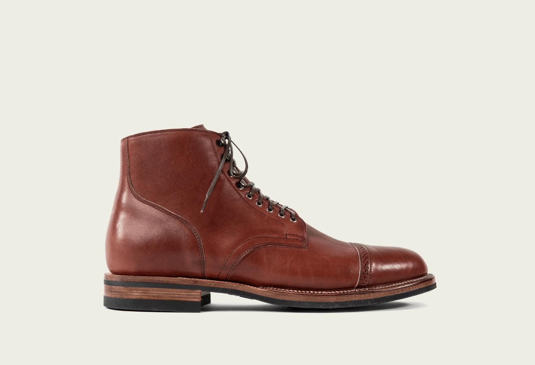 Viberg Service Boots in Shinki Red Brown Latigo Horsehide