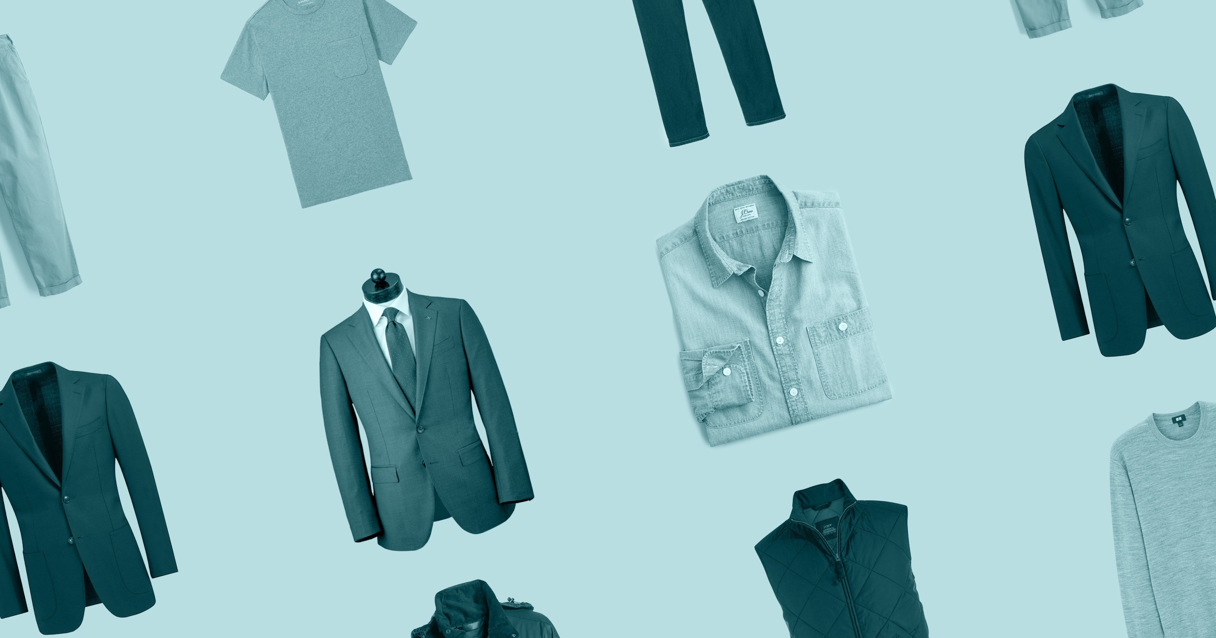 grid of clothes on blue background