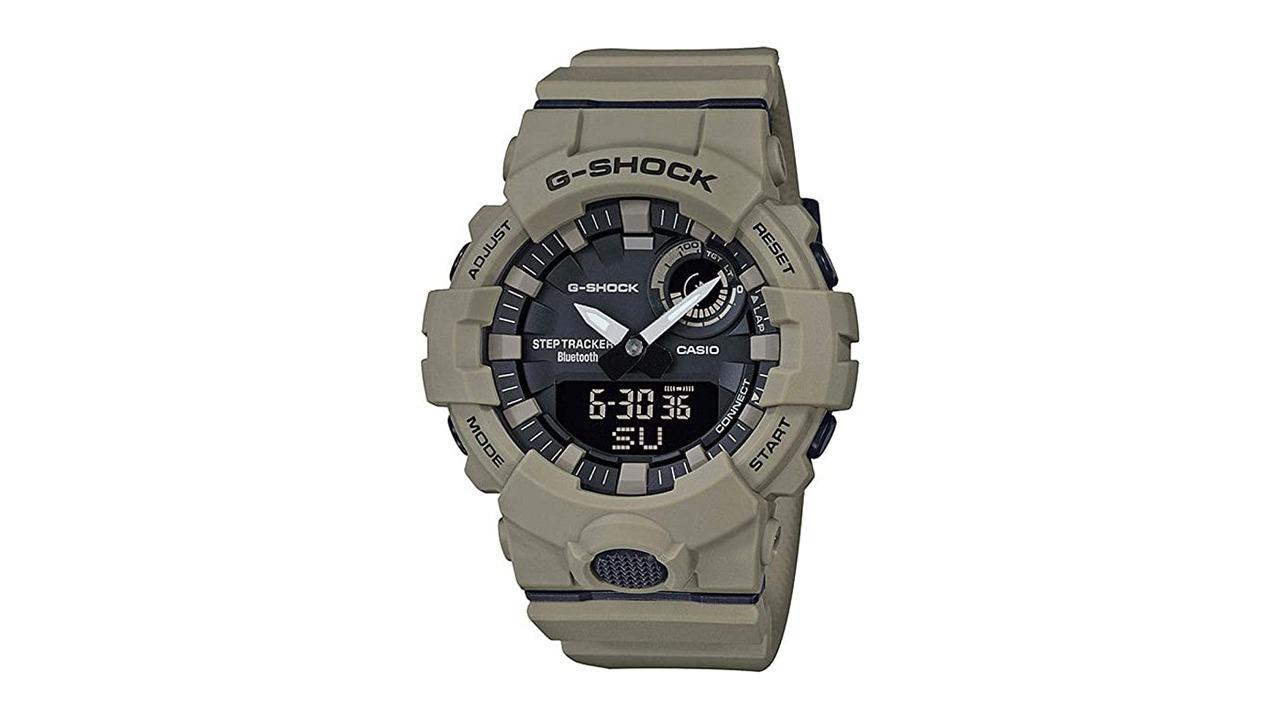 flatlay of Casio Tactical G-Shock GBA800UC-5A