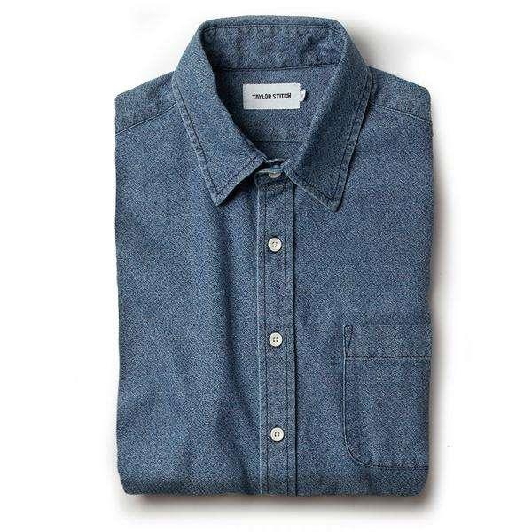 Taylor Stitch California Shirt in Washed Indigo Crepe