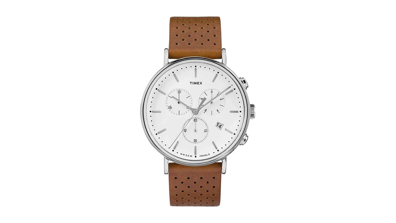 flatlay of Timex Fairfield Chrono Leather