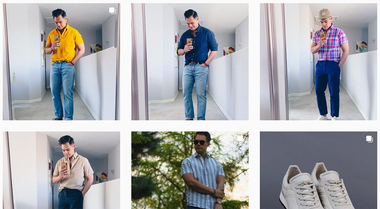 grid of photos of asian man taking photo in a mirror