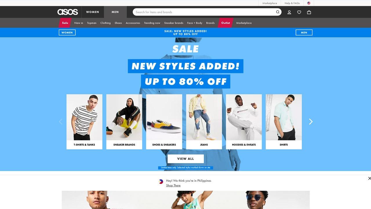 asos men's homepage