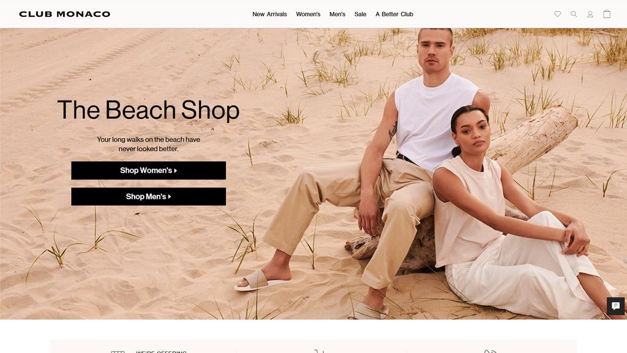 homepage of club monaco