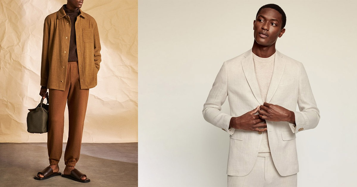 side by side of man in luxe clothing