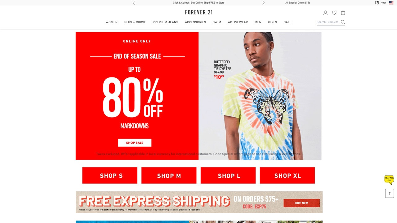 homepage of forever 21