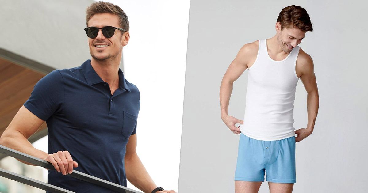 side by side image of men wearing mack weldon clothes