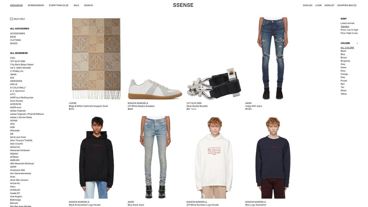 homepage of ssense