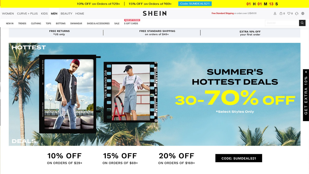 shein homepage
