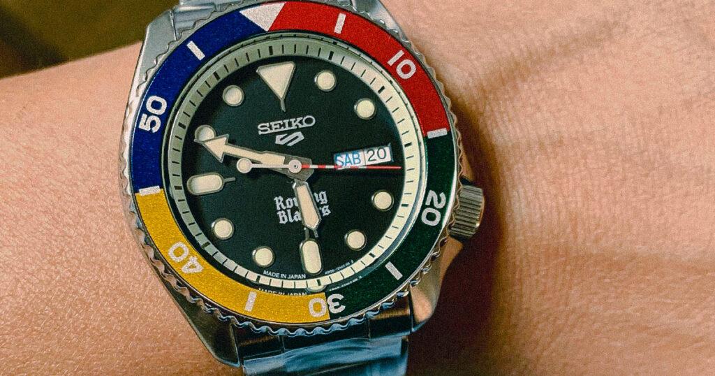 closeup of seiko rowing blazers watch face