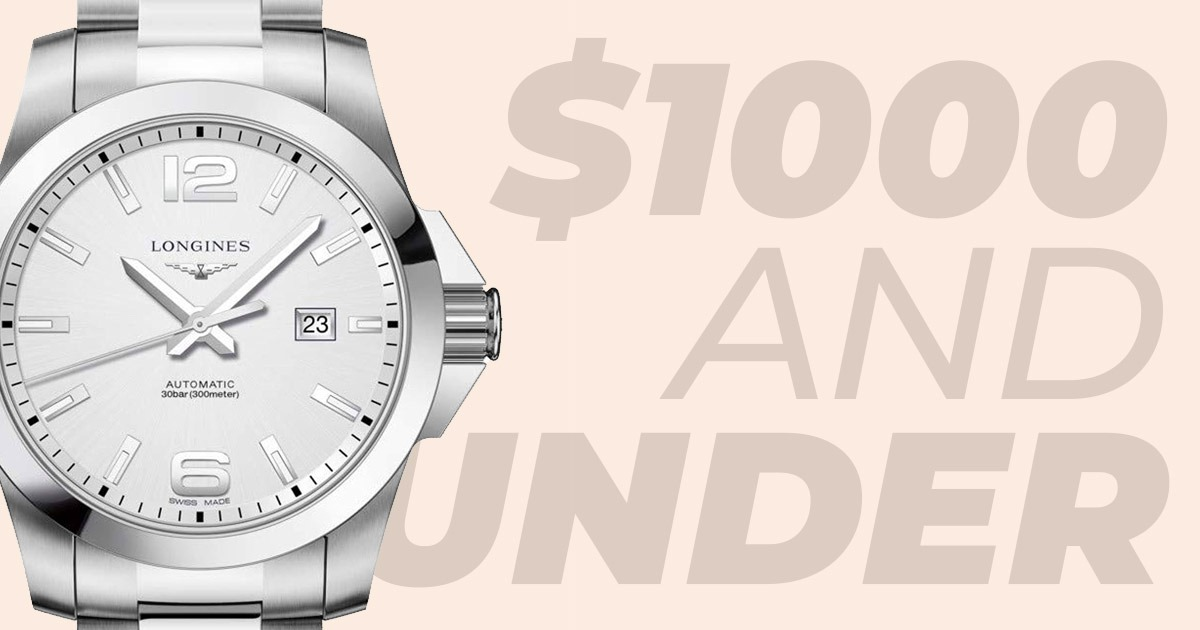 1000 and under header with silver watch