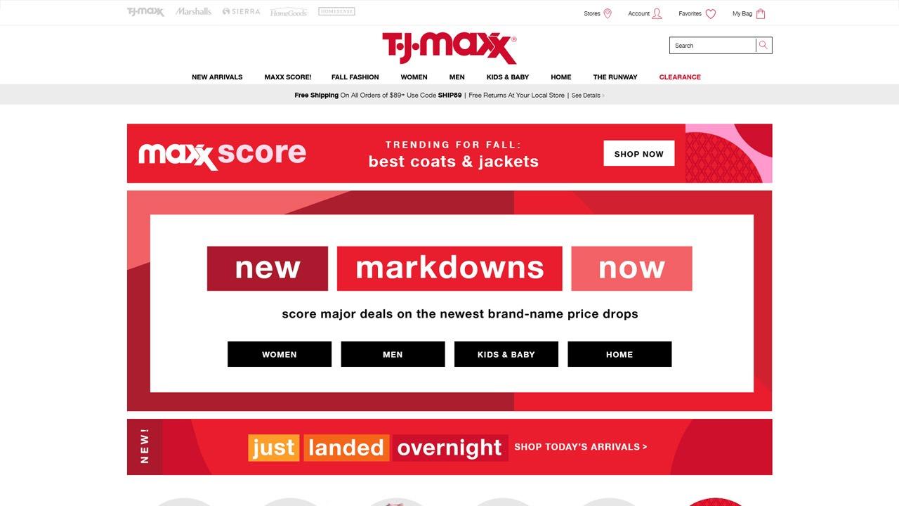 TJ Maxx homepage