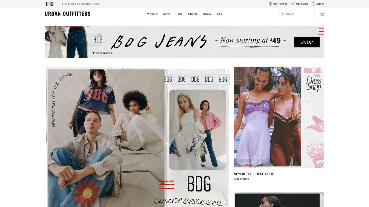 urban outfitters homepage