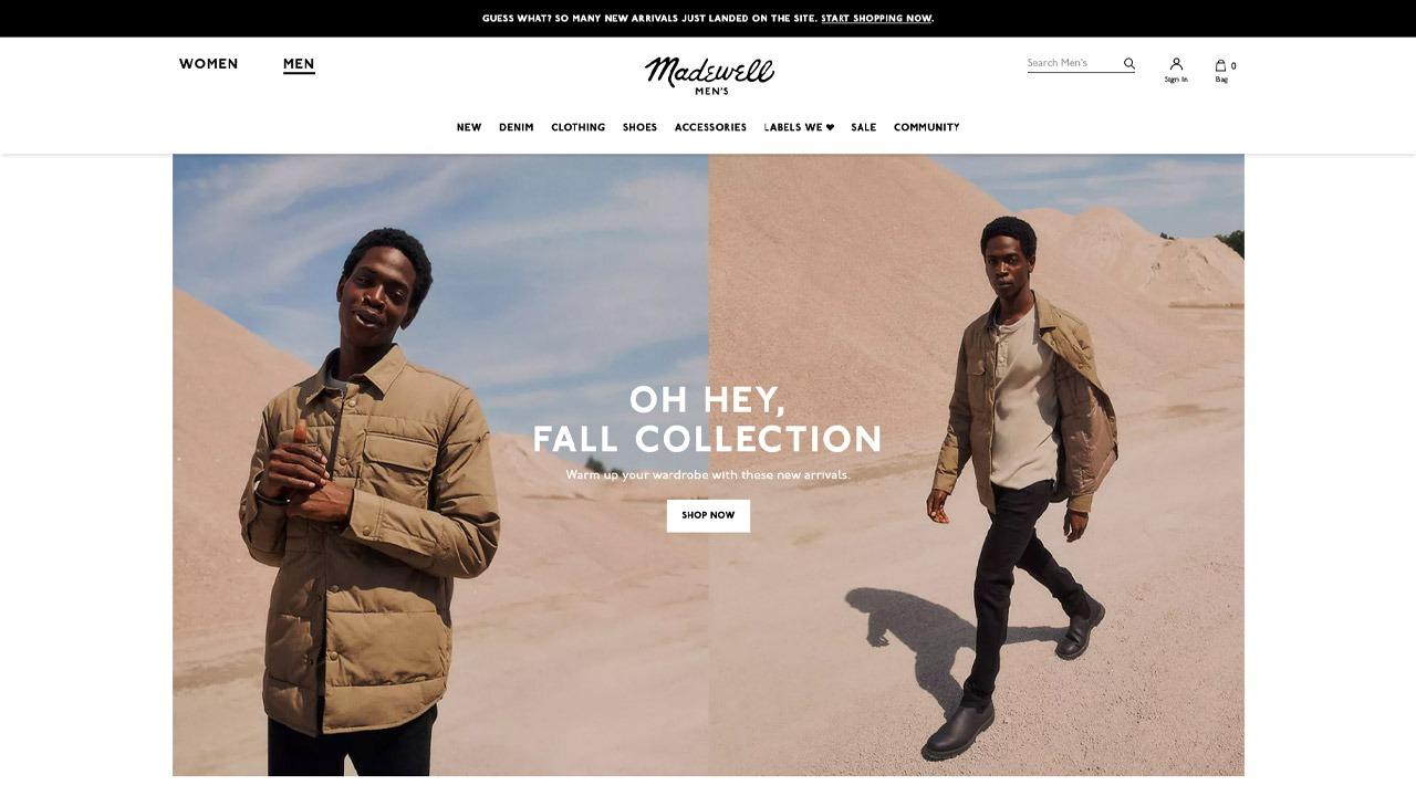 madewell homepage