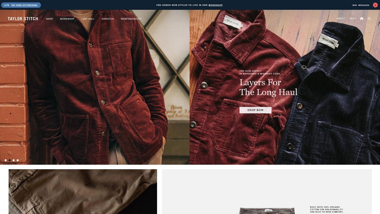 taylor stitch homepage