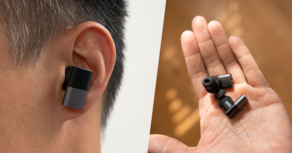 status audio between pro earbuds in ear and in hand