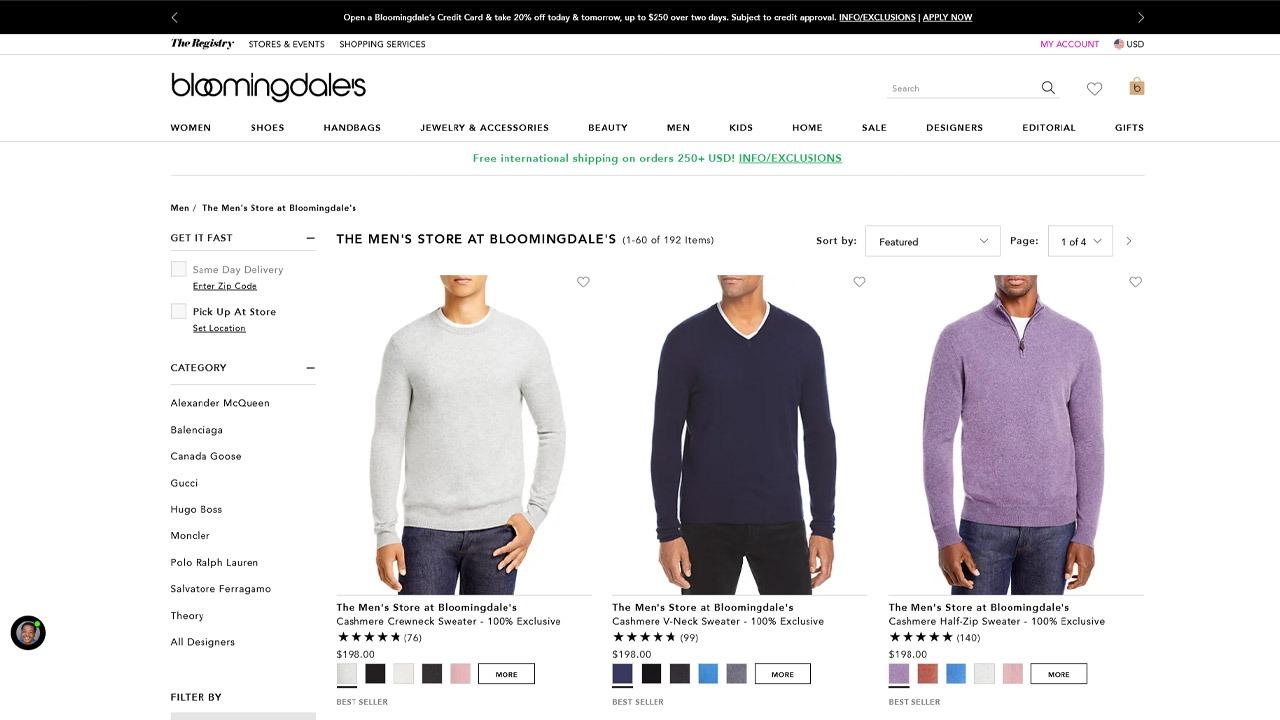 bloomingdales men store homepage