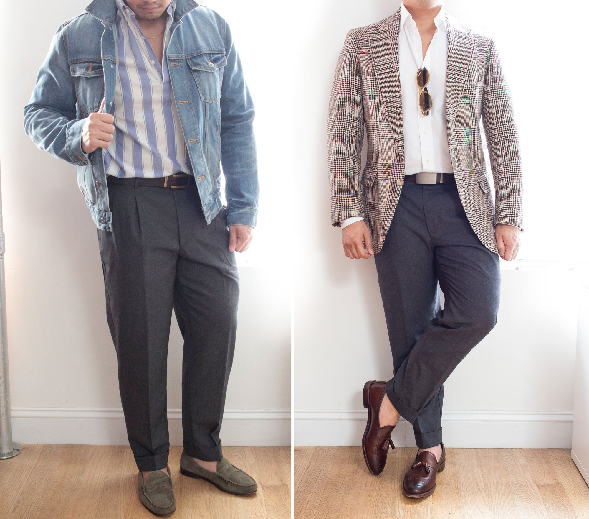 man wearing grey pants with a denim jacket and with a suit jacket