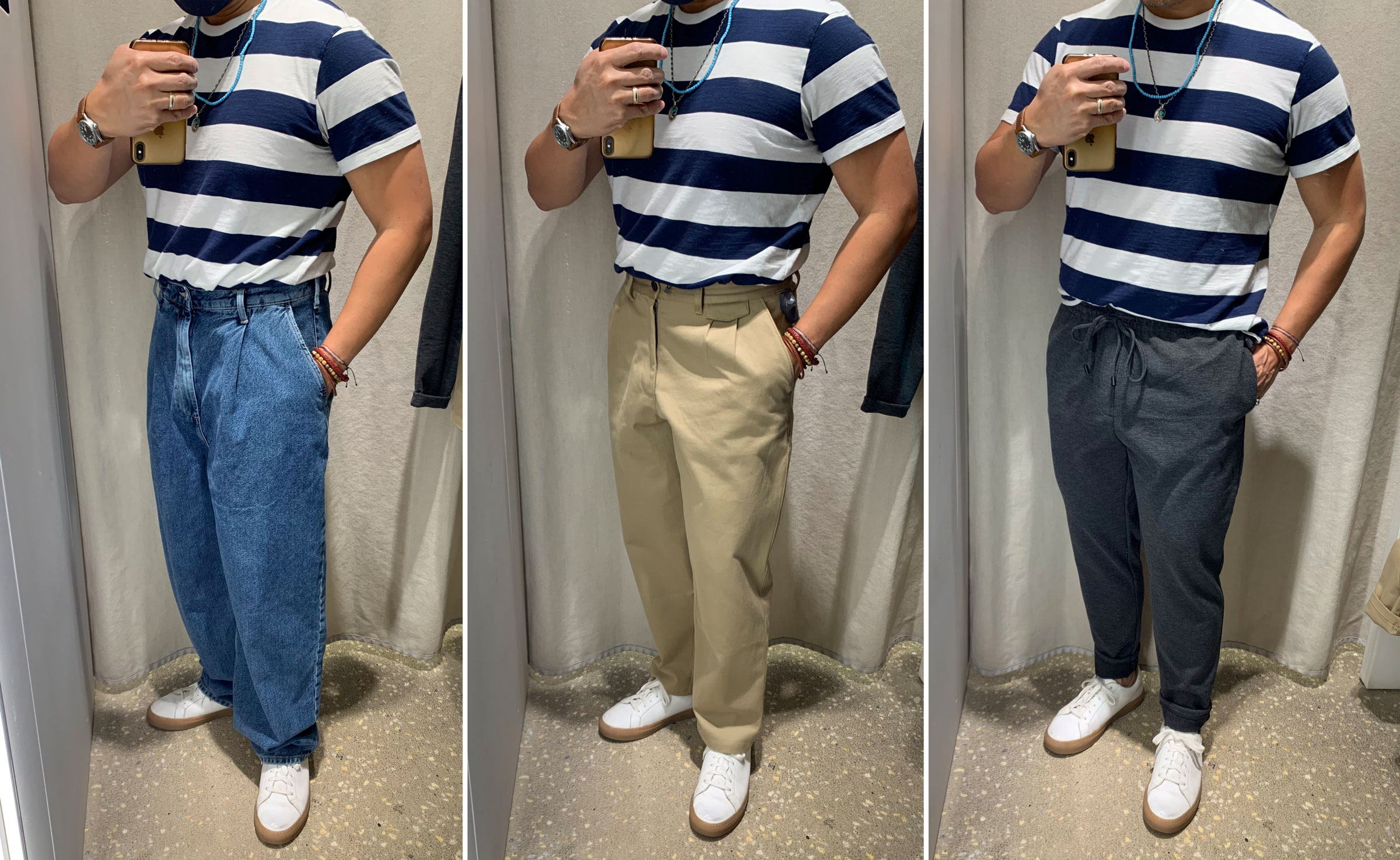 three different fits of pants: loose, relaxed, slim tapered