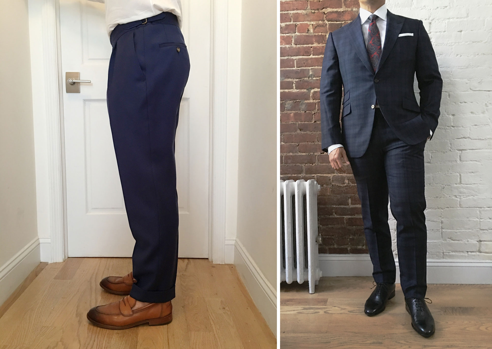 side view of men's suit trousers that fit well compared to suit pants that fit too tight